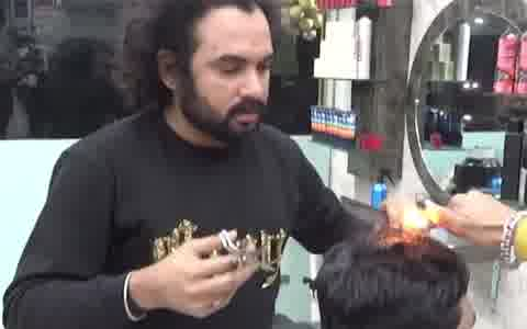Unique hair-cutting style spotted in Lahore, Pakistan